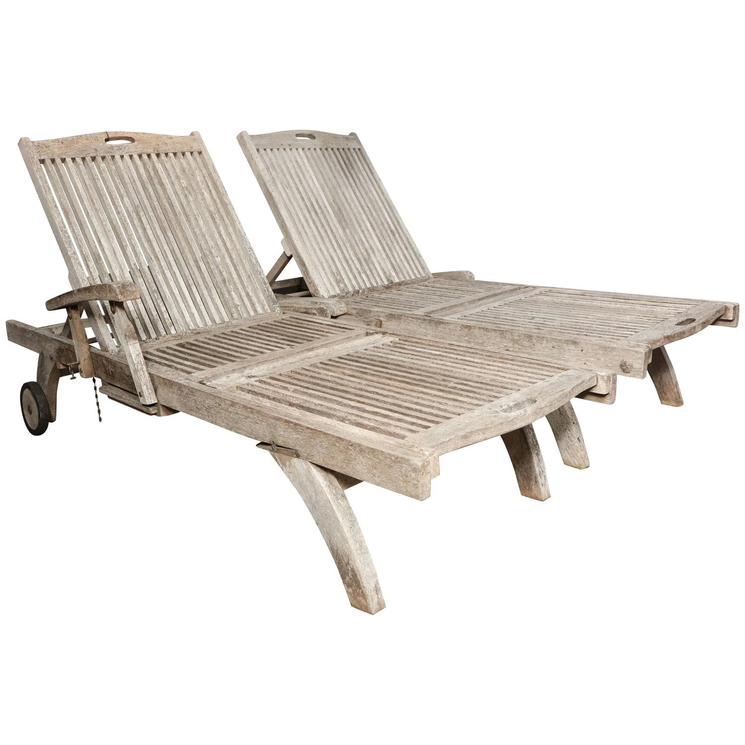 Building A Chaise Lounge Of Teak Outdoor Lounge Chaise At 1stdibs