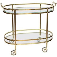 Vintage Large Italian Brass Bar Cart