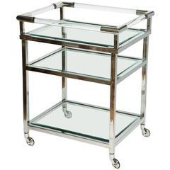 Modern Lucite and Chrome Bar Cart in the Style of Charles Hollis Jones