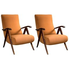 Pair of Italian Mid-Century Modern Reclining Lounge Chairs