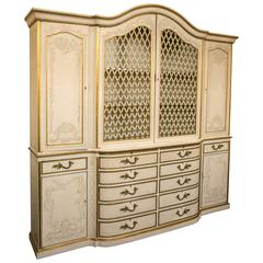 Italian Paint Decorated Breakfront Cabinet by Beacon Hill