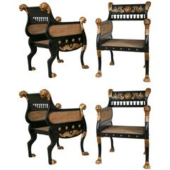 Set of Four Russian Neoclassical Style Armchairs