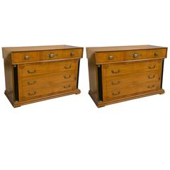 Pair of Bethlehem Biedermeier Style Column Front Six-Drawer Chests