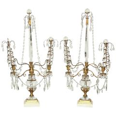 Fine Pair of Rock Crystal and Bronze Candelabra