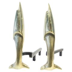 Pair of Solid Brass French Andirons in the Manner of Pierre Legrain  C. 1930s