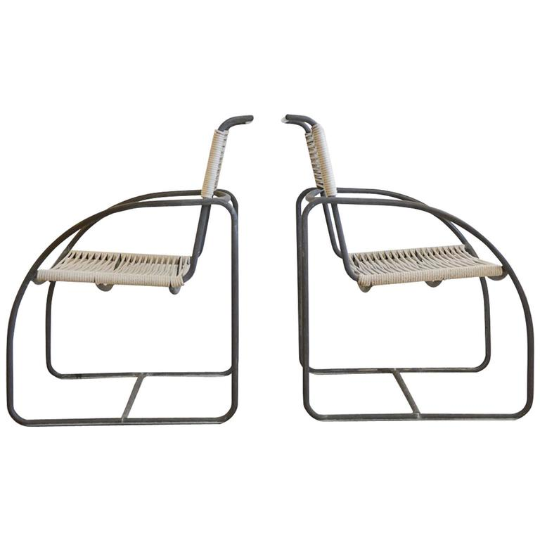Tubular Bronze Patio Lounge Chairs By Kipp Stewart For