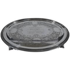 Historic Tiffany Sterling Silver Salver Tray with Broadway Hallmark