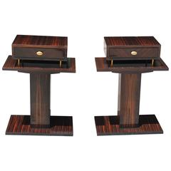 Pair of Spectacular French Art Deco Macassar Ebony Night Tables/End Tables