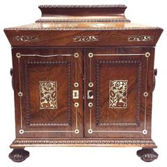 19th Century M.O.P. Inlaid Indo-Portuguese Writing Desk or Jewelry Table Cabinet