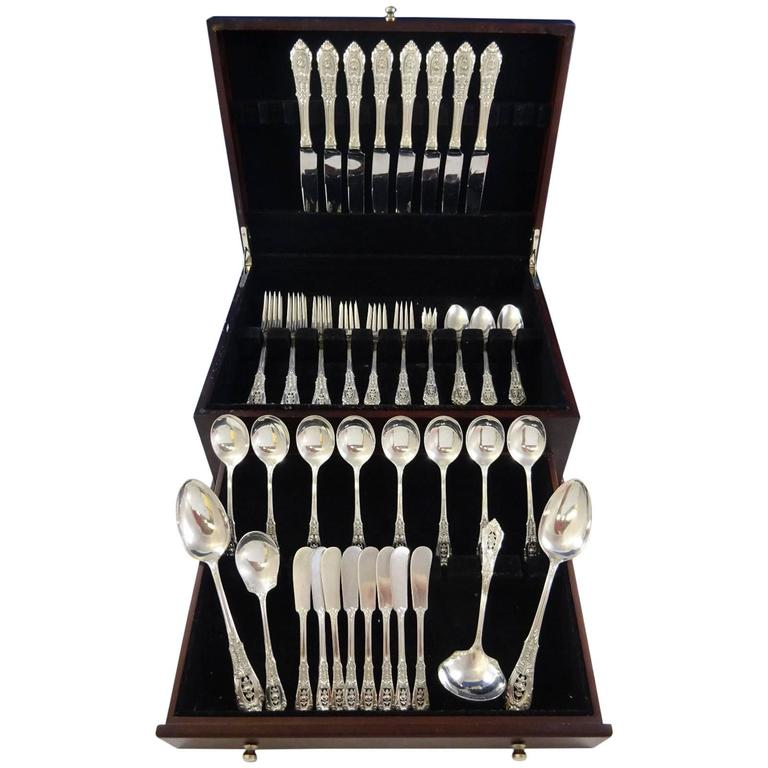 Rose Point by Wallace Sterling Silver Dinner Size Flatware Set of Eight Service