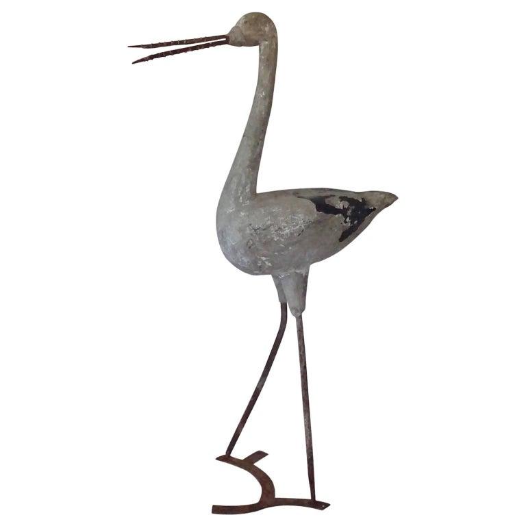 English Cast Stone Heron Garden Folly Ornament