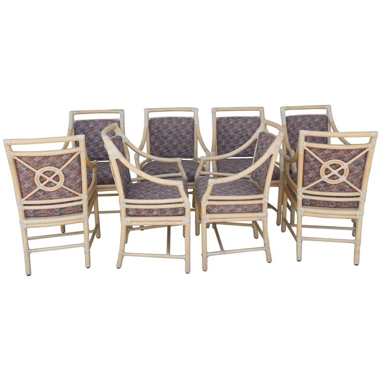 this rare set of eight vintage mcguire designer custom dining chairs