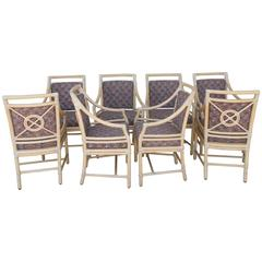 """Rare Set of Eight Vintage McGuire """"Target"""" Custom Arm Dining Chairs"""