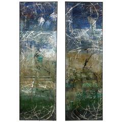 Pair of Custom Reverse Painted Mirrors