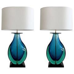 Pair of Rare Large Flavio Poli Lamps, Murano