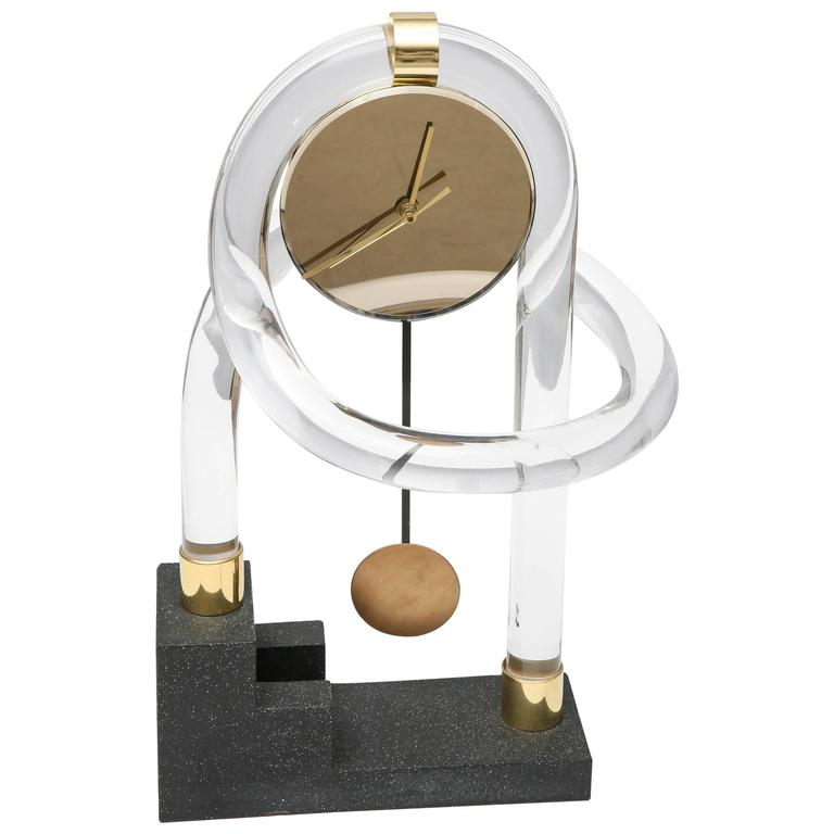 Lucite Abstract Shelf Clock At 1stdibs