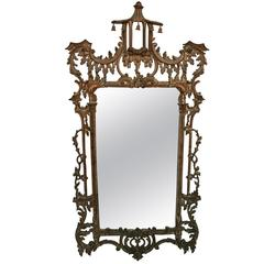 Elegant Chinoiserie Mirror with Pagoda Crown