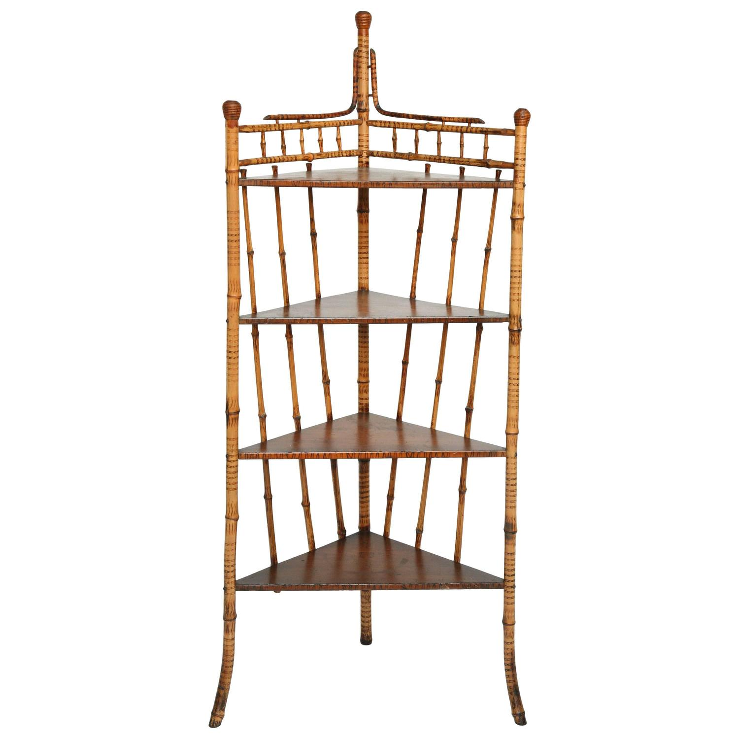 superb 19th century burnt bamboo corner etagere at 1stdibs. Black Bedroom Furniture Sets. Home Design Ideas