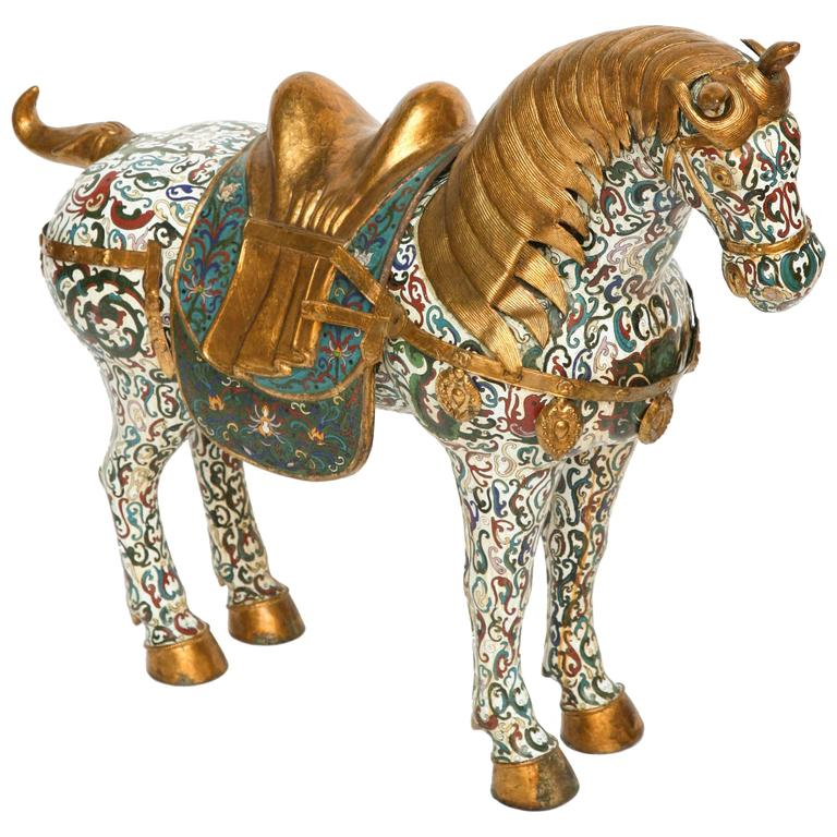 Enormous Cloisonné Figure of a Horse For Sale