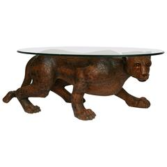 "Life-Like Carved Wood Over-Sized Mid-Century ""Leopard"" Cocktail Table"