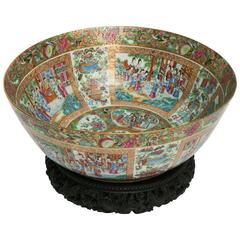 Important, Enormous, and Elaborate 19th Century Rose Mandarin Punch Bowl