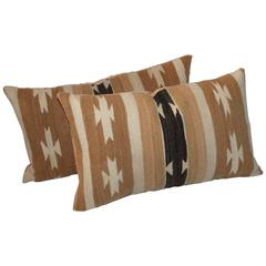 Pair of Chinle Navajo Indian Weaving Bolster Pillows
