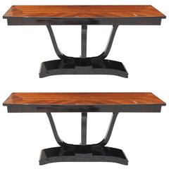 Pair French Art Deco Exotic Macassar Ebony, Black Lacquer Console Tables, 1940s