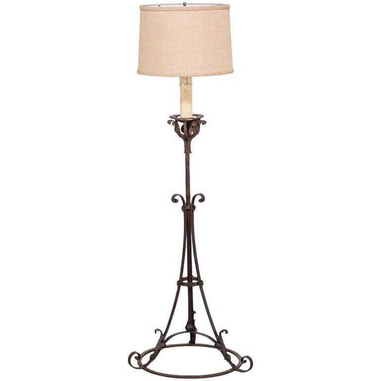 Antique French Forged Iron Candle Stand Floor Lamp Circa