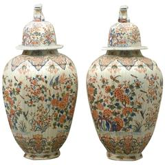 Fine Tall Antique Hand painted Blue Chinoiserie Birds & Flowers Imari Vases 1700