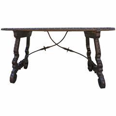 19th Century Spanish Walnut Table with Iron Stretcher