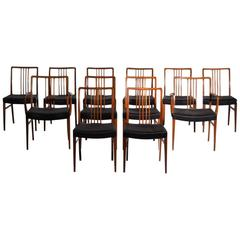Twelve Dining Chairs in Mahogany with Black Horsehair Seats, circa 1950
