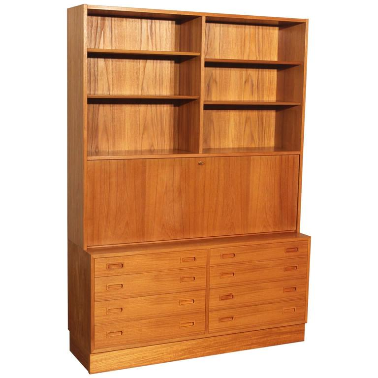Danish Teak Bookcase Desk Secretary Designed By Poul