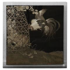 Antique Japanese Silk Embroidery of Two Cockerel, One in a Cage with Flowers