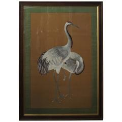 Large Antique Japanese Silk Embroidery of Two Cranes on a Neutral Background