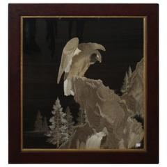 Impressive Framed Antique Japanese Silk Embroidery, Hawk on a Mountainside