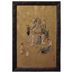 Unusual Antique Japanese Oshi-e 3D Fabric Picture of a Temple Nio