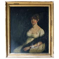 Charming Early 19th Century English School Portrait of a Lady, circa 1800-1807