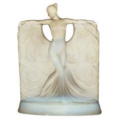 Suzanne Au Bain Glass Table Lamp by Marius-Ernest Sabino (1878-1961)