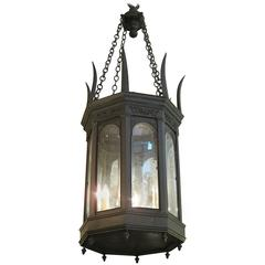 American Made Gothic Style Lantern with Beveled Glass, 1920s