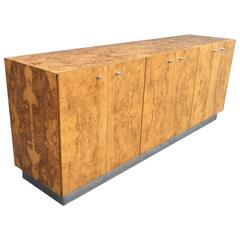 Milo Baughman for Thayer Coggin Sideboard in Bookmatched Burled Olive Wood