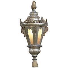 19th Century Venetian Silver Plated Brass Lantern Chandelier