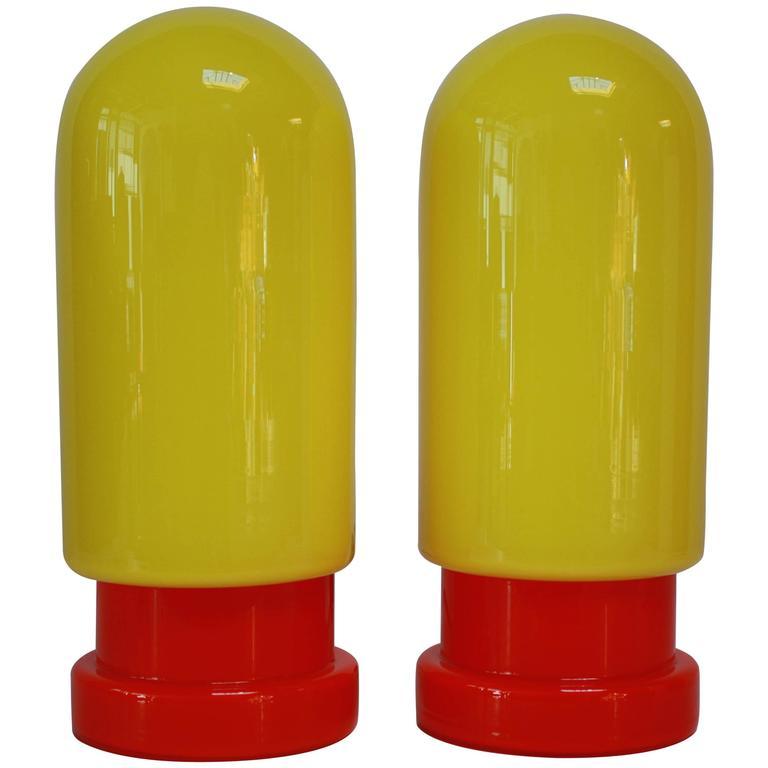 1960s Swedish Glass Capsule Table Lamps