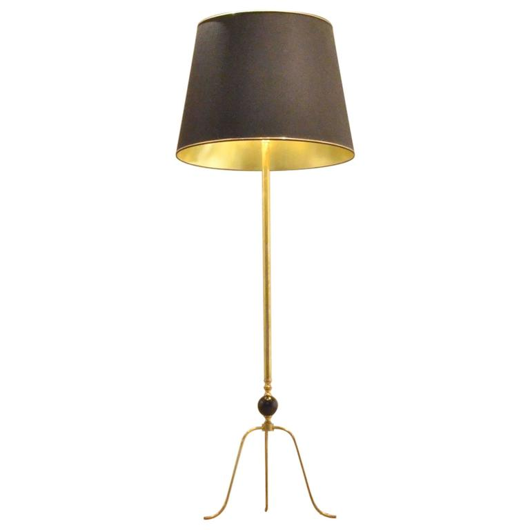 mid century brass and lacquered wood tripod floor lamp for. Black Bedroom Furniture Sets. Home Design Ideas