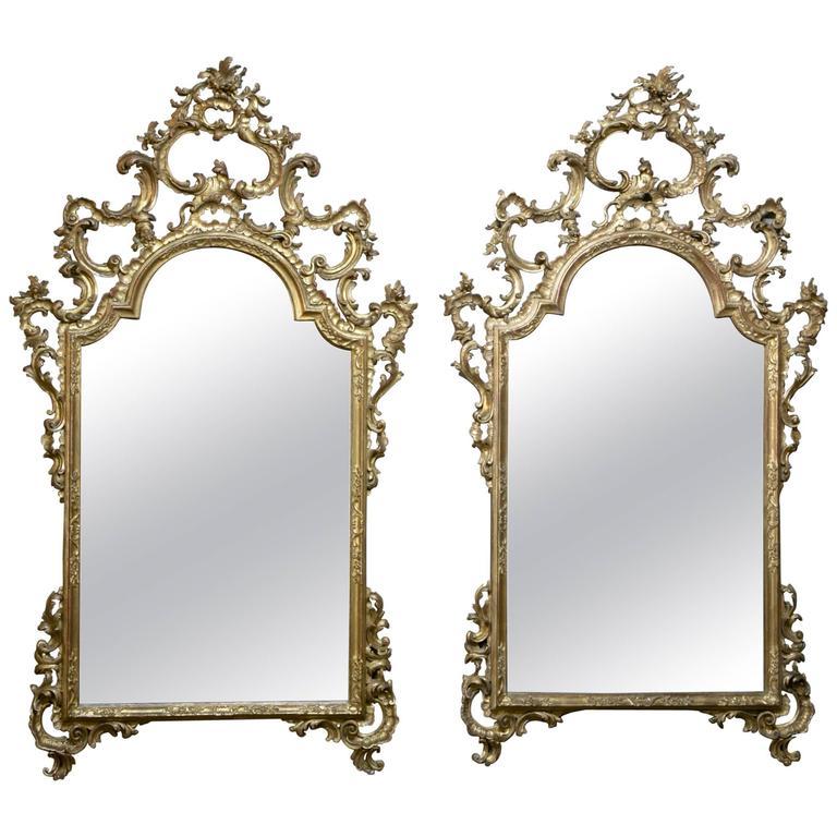 Pair of 19th Century Italian Rococo Giltwood Mirrors