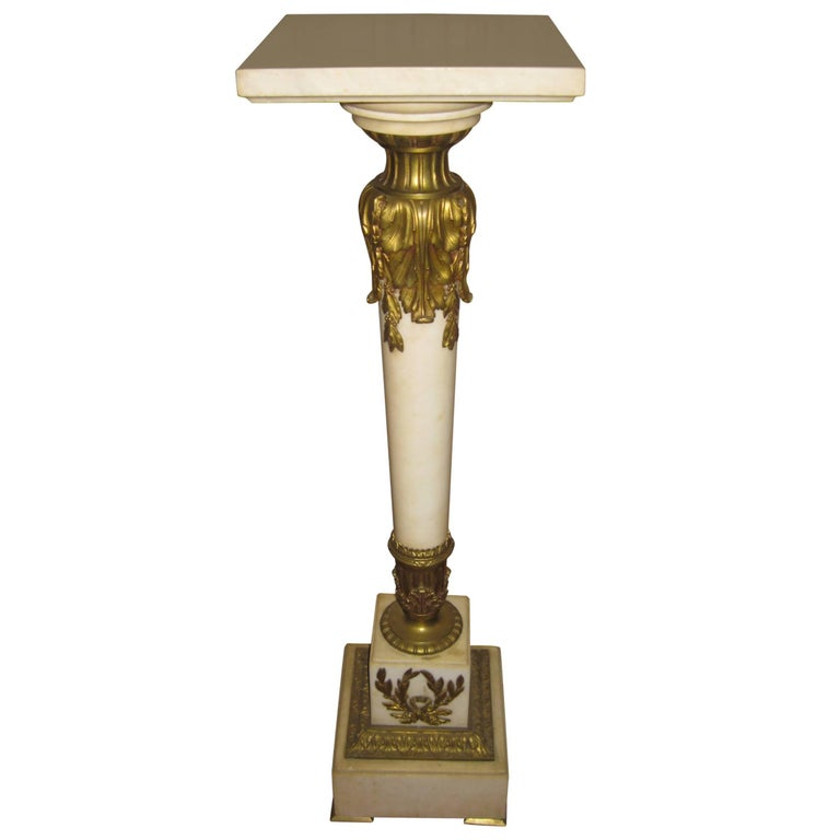 19th Century Louis XVI Style Gilded Marble Pedestal For Sale