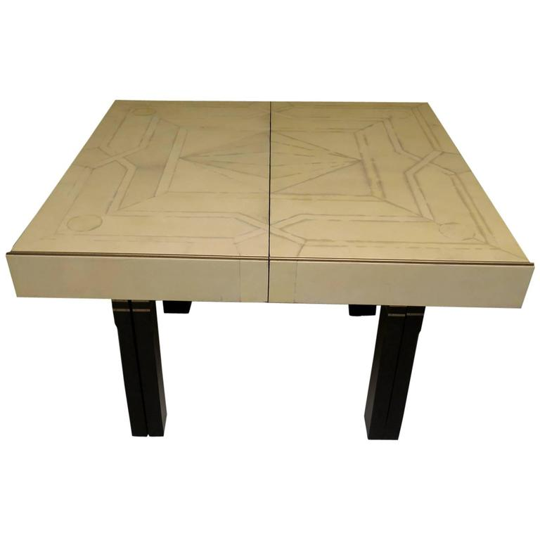 Parchment Brass and Black Lacquer French Art Deco Extending Table