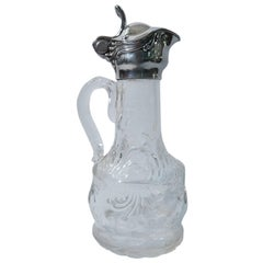 Tiffany Art Nouveau Sterling Silver and Crystal Decanter