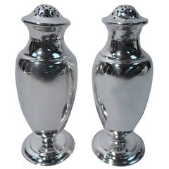 Pair of Tiffany Spare and Fluid Sterling Silver Salt and Pepper Shakers