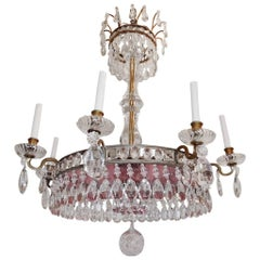 Beautiful Neoclassical 8-Light French Gilt Bronze Red Crystal Baltic Chandelier