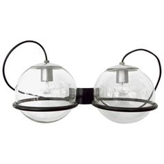 Gino Sarfatti Mid Century Wall Sconce 237/2 With Two Glass Globes Black Frame